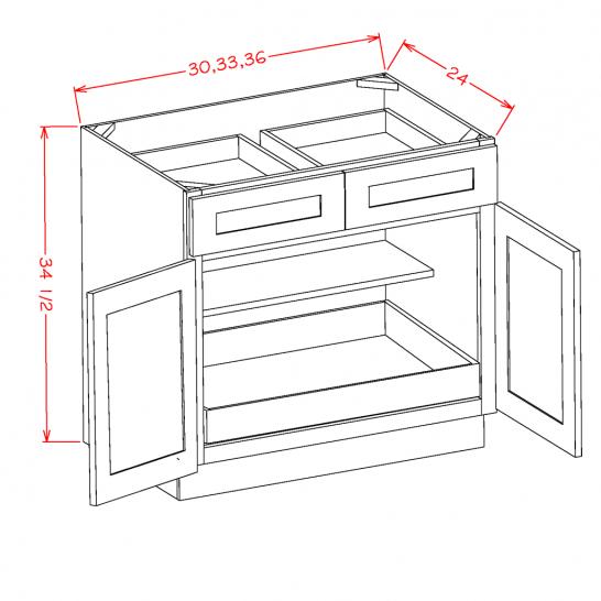 SA-B361RS - Double Door Single Rollout Shelf Bases