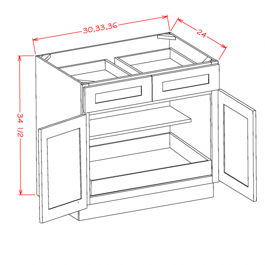 SD-B331RS - Double Door Single Rollout Shelf Bases