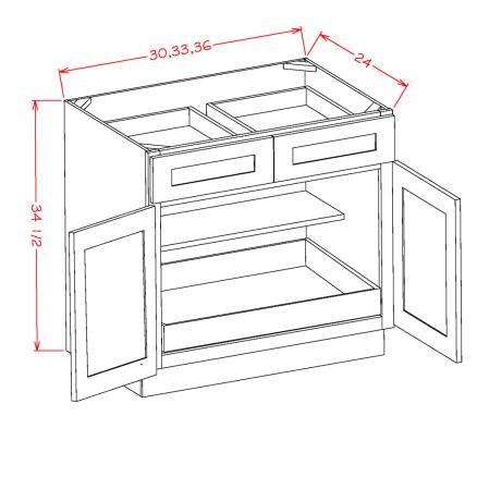 YC-B361RS - Double Door Single Rollout Shelf Bases