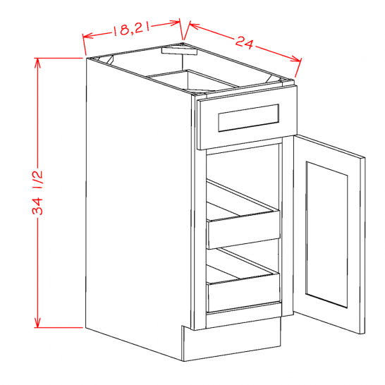 YW-B182RS - Single Door Double Rollout Shelf Bases