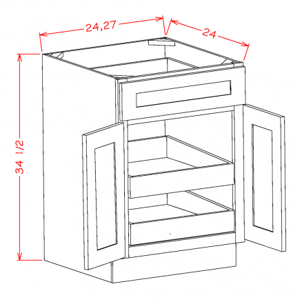 YW-B242RS - Double Door Double Rollout Shelf Bases