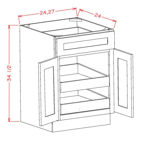 TW-B242RS - Double Door Double Rollout Shelf Bases