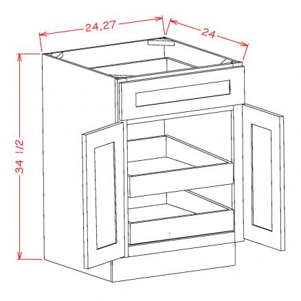 SE-B272RS - Double Door Double Rollout Shelf Bases