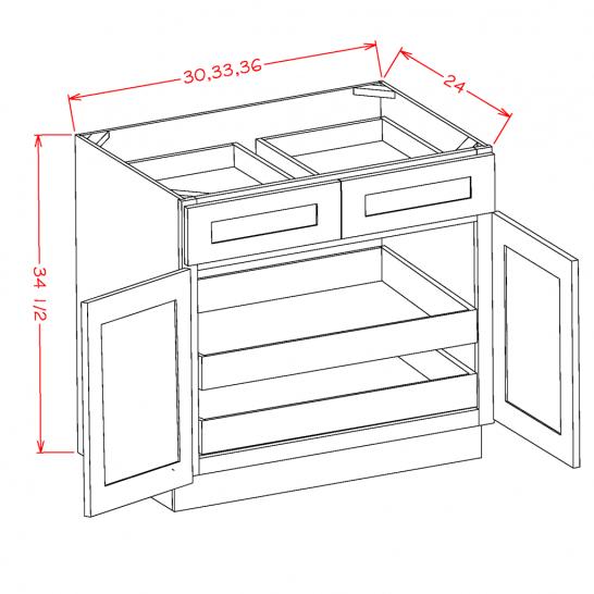 SC-B332RS - Double Door Double Rollout Shelf Bases