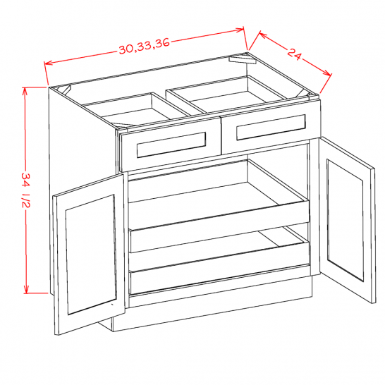 YW-B362RS - Double Door Double Rollout Shelf Bases