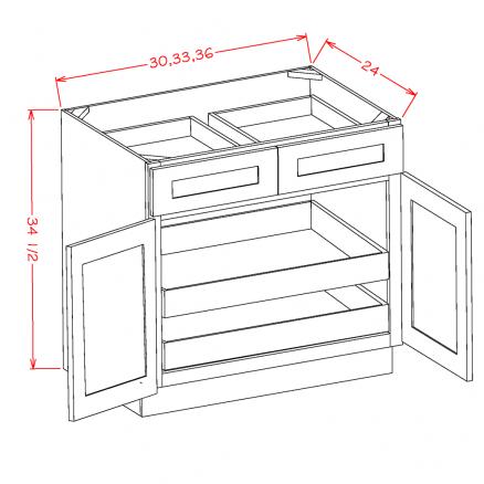 TW-B362RS - Double Door Double Rollout Shelf Bases