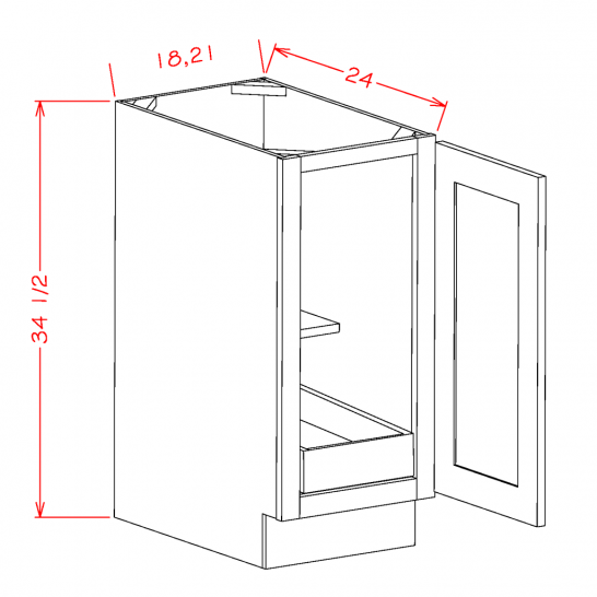 CS-B18FH1RS - Full Height Single Door Single Rollout Shelf Bases
