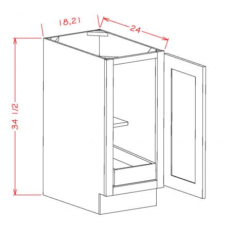 CS-B21FH1RS - Full Height Single Door Single Rollout Shelf Bases