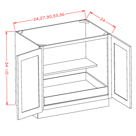 SD-B33FH1RS - Full Height Double Door Single Rollout Shelf Bases
