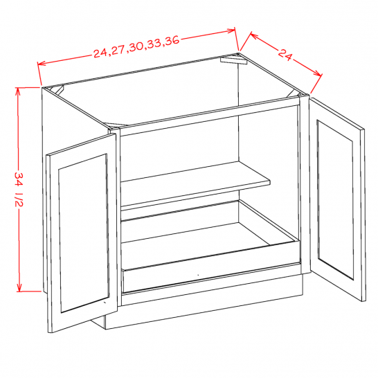 YW-B24FH1RS - Full Height Double Door Single Rollout Shelf Bases