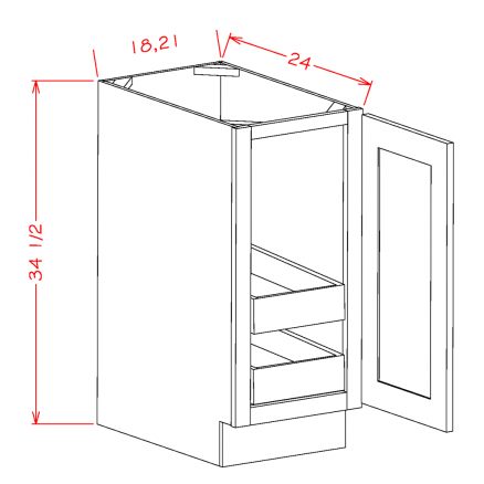 TD-B18FH2RS - Full Height Single Door Double Rollout Shelf Bases