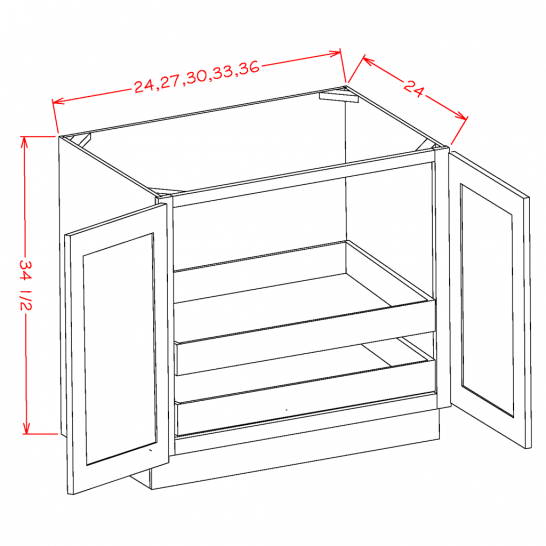 YW-B24FH2RS - Full Height Double Door Double Rollout Shelf Bases