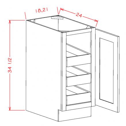 CS-B18FH3RS - Full Height Single Door Triple Rollout Shelf Bases