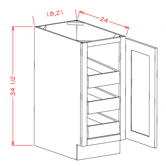 CS-B21FH3RS - Full Height Single Door Triple Rollout Shelf Bases