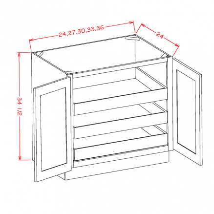CW-B27FH3RS - Full Height Double Door Triple Rollout Shelf Bases