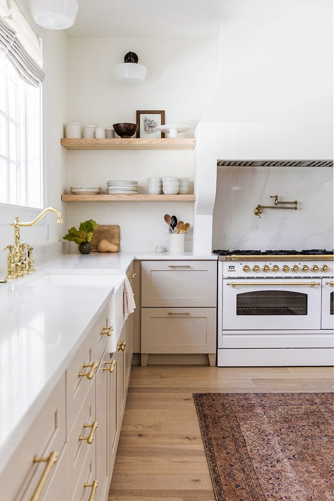 Farmhouse kitchen in greige and white