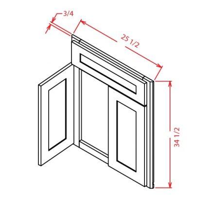 YC-DCSF42 - Sink Base - Diagonal Sink Front - 26.25 inch