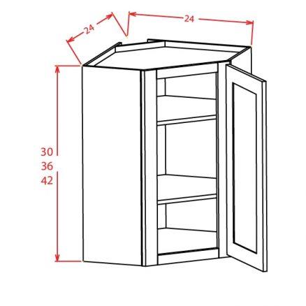 YW-DCW2430GD - Diagonal Corner Wall Cabinets - 24 inch