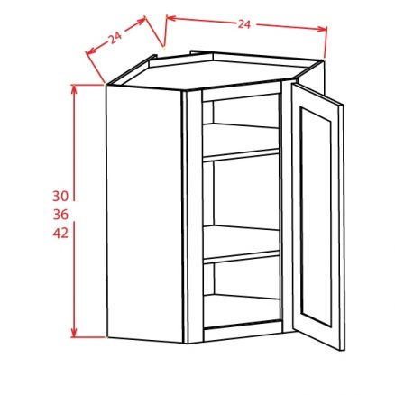 TW-DCW2442GD - Diagonal Corner Wall Cabinets - 24 inch