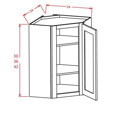 YW-DCW2742 - Diagonal Corner Wall Cabinets - 27 inch
