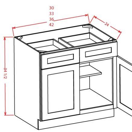 YW-B33 - Double Door Double Drawe Bases - 33 inch