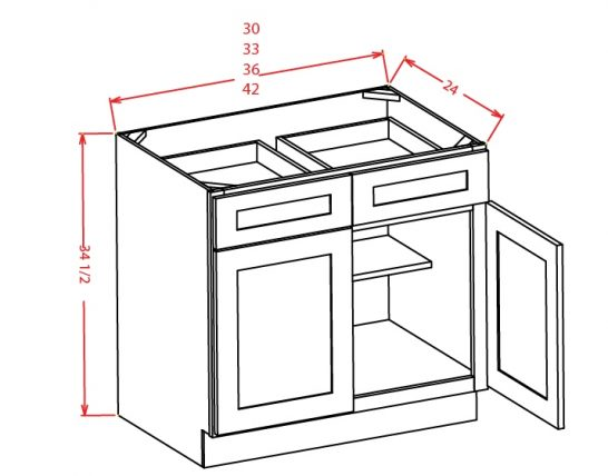 TW-B36 - Double Door Double Drawe Bases - 36 inch