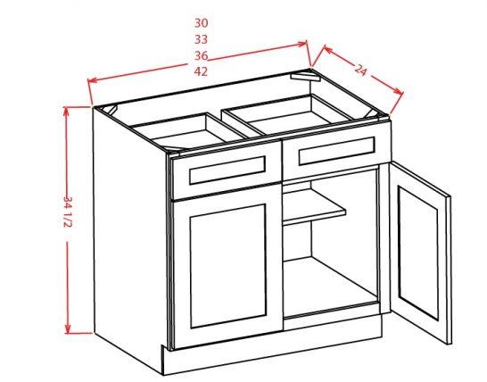 TW-B42 - Double Door Double Drawe Bases - 42 inch