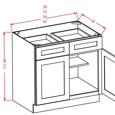 YW-B42 - Double Door Double Drawe Bases - 42 inch