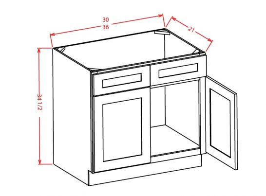 CW-VS36 - Vanity Sink Bases-Double Door Double Drawer Front - 36 inch