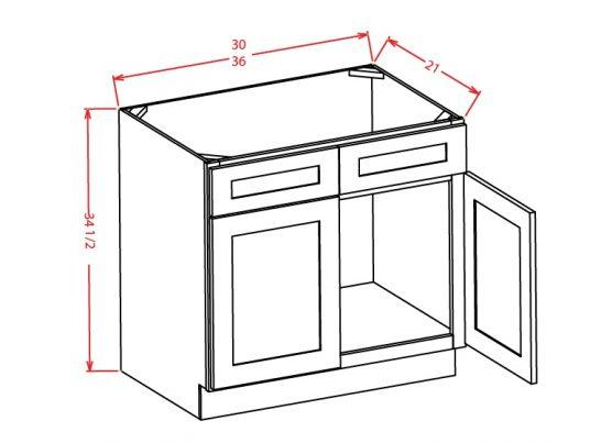 TW-VS36 - Vanity Sink Bases-Double Door Double Drawer Front - 36 inch