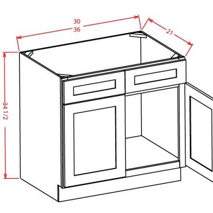 SW-VS36 - Vanity Sink Bases-Double Door Double Drawer Front - 36 inch