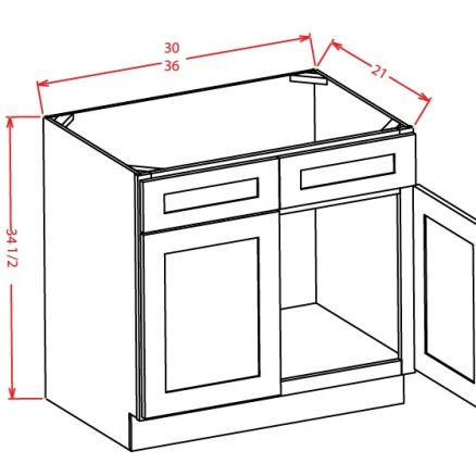 YW-VS36 - Vanity Sink Bases-Double Door Double Drawer Front - 36 inch
