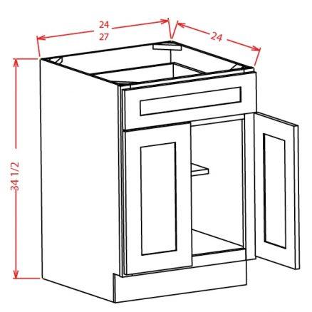 TW-B24 - Double Door Single Drawer Bases - 24 inch