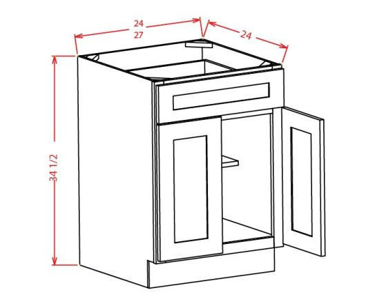 YW-B24 - Double Door Single Drawer Bases - 24 inch