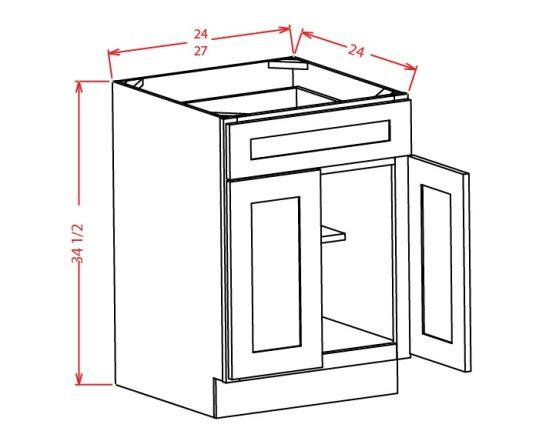 SW-B27 - Double Door Single Drawer Bases - 27 inch