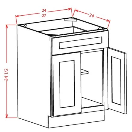 YW-B27 - Double Door Single Drawer Bases - 27 inch
