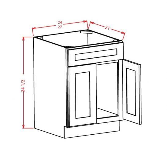 SMW-VS24 - Vanity Sink Bases-Double Door Single Drawer Front - 6 inch