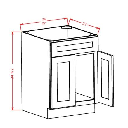 SW-VS24 - Vanity Sink Bases-Double Door Single Drawer Front - 24 inch