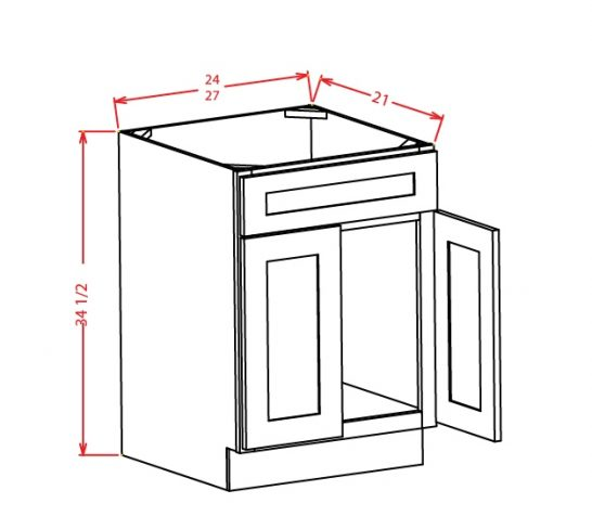 TD-VS27 - Vanity Sink Bases-Double Door Single Drawer Front - 27 inch