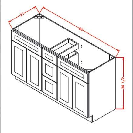 VSDB60 Vanity Double Sink Base Cabinet 60 inch Shaker Charcoal Gray