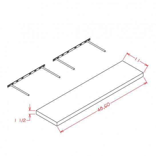 TWP-FS48 - Floating Shelf - 48 inch