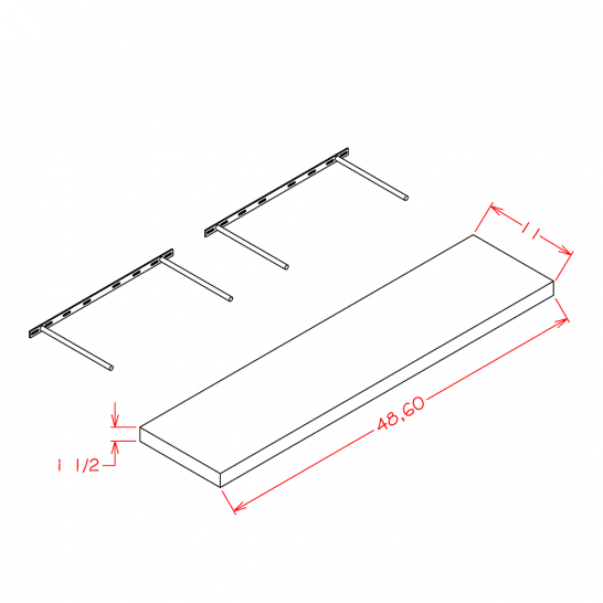 TDW-FS48 - Floating Shelf - 48 inch