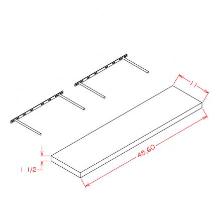TGW-FS48 - Floating Shelf - 48 inch