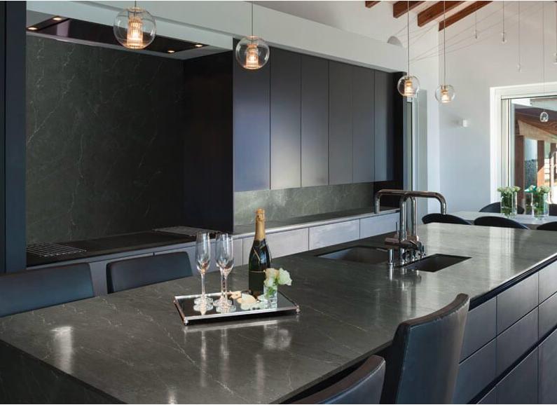 Granite countertops and gray cabinets