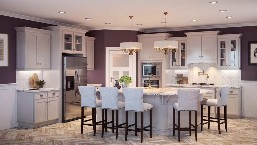 Gold accents and hardware light up this transitional kitchen
