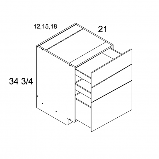 MGW-3VDB15 - Three Drawer Vanity Base- 15 inch