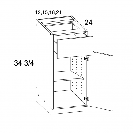 MGW-B12 - One Drawer One Door Base- 12 inch