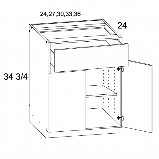 MGW-B24 - One Drawer Two Door Base- 24 inch