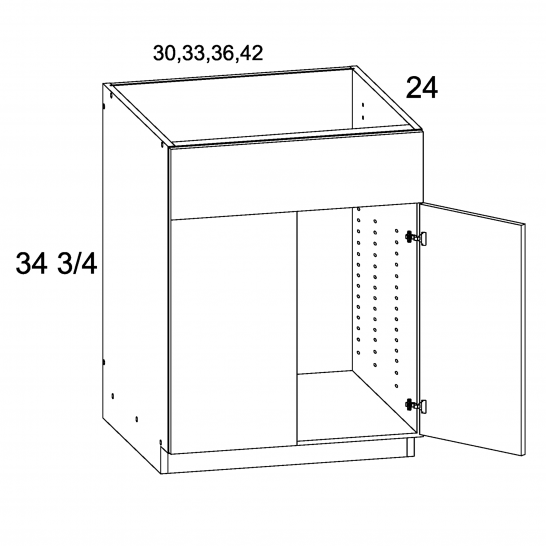 MGW-SB42 - Two Door Single FALSE Drawer Front Sink Base- 42 inch