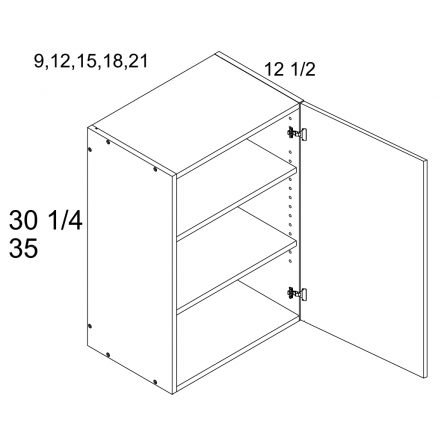 MGW-W1530 - One Door 12.5'' Deep Wall Cabinet- 15 inch